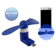 Mini Smartphone Ventilator in Blau mit MicroUSB Anschluss, 90° Winkelung