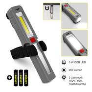 COB LED-Arbeitsleuchte inkl. Batterie mit Magnet und Haken, 200 Lumen, Heitech