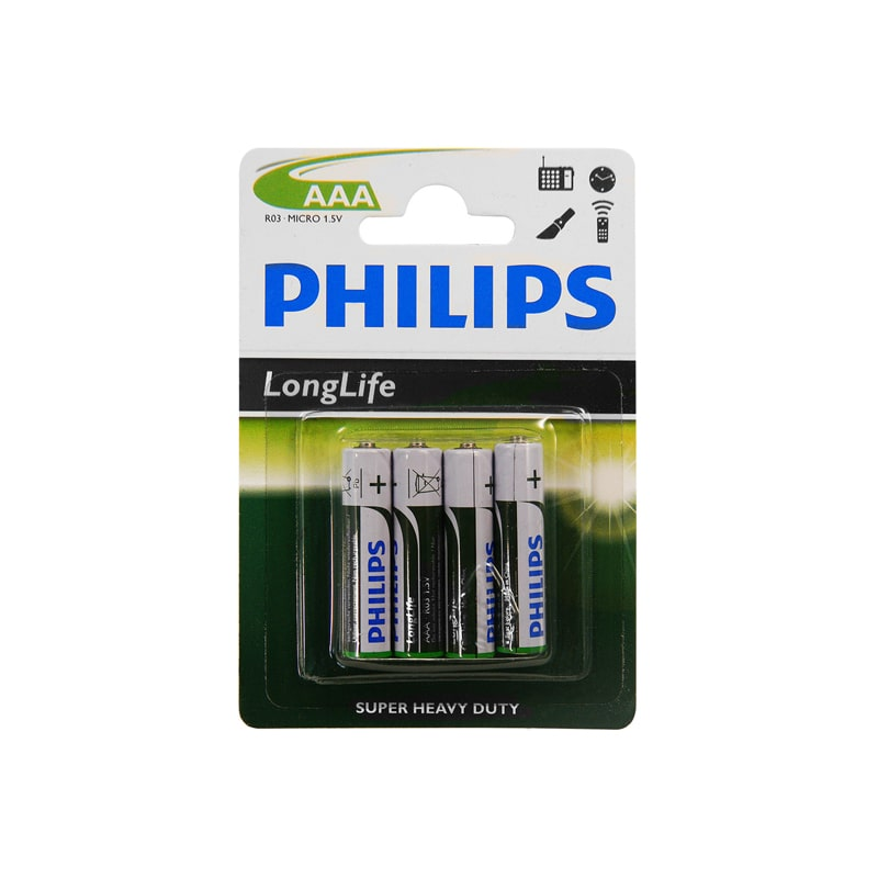 philips batterie longlife r03 micro aaa 4 st ck 1 5v zink kohle. Black Bedroom Furniture Sets. Home Design Ideas