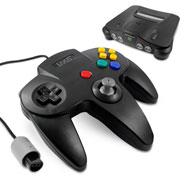 Controller für Nintendo 64 / N64 schwarz, Retro Look Gamepad, Eaxus