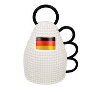 WM Fußball Fanartikel Caxirola, Rassel Instrument mit Deutschlandfarben